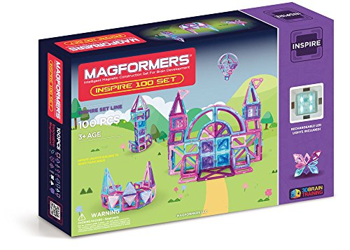 Magformers Inspire Set (100-pieces) Magnetic Building Blocks, Educational Magnetic Tiles Kit , Magnetic Construction STEM Toy Set
