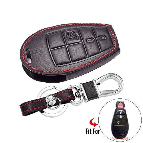 Lederen Autosleutel Cover, Voor Dodge, Voor Challenger, Voor Reis, Voor Ram, Voor Jeep, Voor Chrysler 300 Remote Fob Case