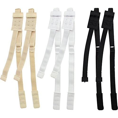 COM-FOUR® 6 bh-extensions voor rugloze jurken, overhemden, blouses, tops (06 stuks - zwart/wit/beige)