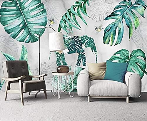 ZJfong foto behang 3D effect behang met de hand beschilderd tropische plant laat de creatieve olifant vogel ontwerp muurschilderingen behang decoratie 220 x 140 cm.