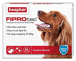 Easy to use Spot-on Contains Fipronil Kills fleas for up to 5 weeks For dogs over 8 weeks of age For medium dogs weighing between 10-20kg
