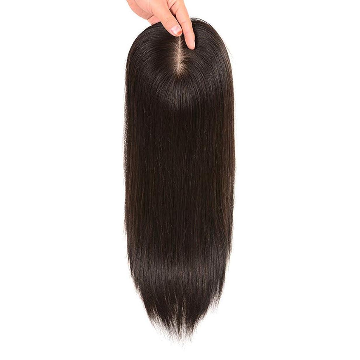 HOHYLLYA 女性の長いストレートヘアクリップヘアエクステンションで髪をかつら見えないパーティーかつらを増やす (色 : Natural black, サイズ : [7x10]25cm)
