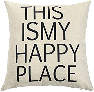 Ogiselestyle This is My Happy Place Cotton Linen Home Decorative Throw Pillow Case Cushion Cover for Sofa Couch, 18
