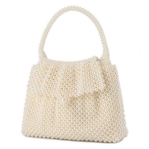 UBORSE Damen-Clutch mit Perlen, edle Kristallperlen, Abendtasche, Hochzeit, Clutch mit Perlenkette, (cremeweiß), Small
