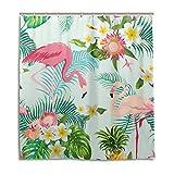 Jstel Duschvorhang mit tropischem Motiv, Blumen, Flamingo, Palme, 100prozent Polyester, 168 cmx 180 cm, mit Kunststoffringen, dekorativer Badewannenvorhang