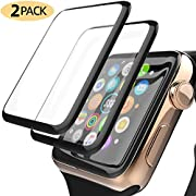 Apple Watch Screen Protector [2 Pack] Premium 3D Tempered Glass Screen Protector for iWatch 38mm Series 3 2 1-[Full Coverage][HD Clear][Scratch-Resistant][Anti Bubble]