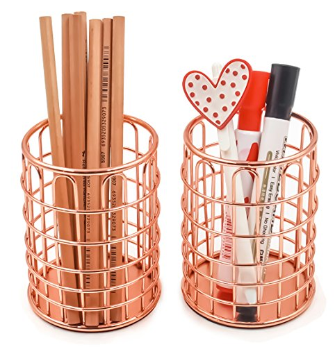 Superbpag Wire Metal Desktop Pencil Holder, Set of 2, Rose...