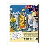 IUYTRF Vintage Alcohol Wine Beer Poster Gordon's Export Gin-1937 Pinturas clásicas en lienzo Carteles de pared Pegatinas -50X80 cm Sin marco 1 pieza