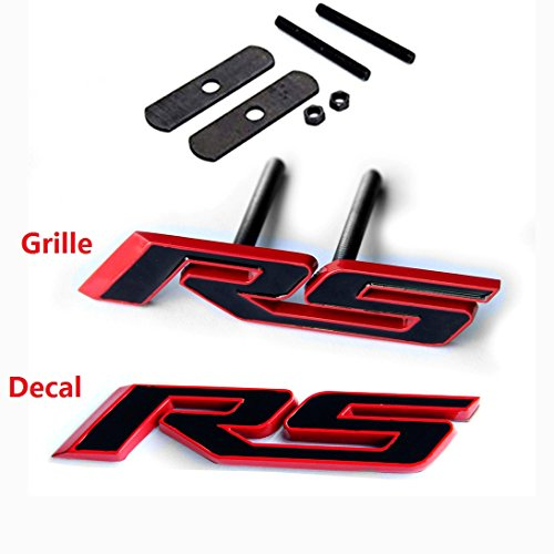 Yoaoo 2x OEM Grille Rs Plus Decal Emblem Badge 3D for Camaro Series Red Frame Red Line