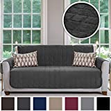 Gorilla Grip Original Velvet Slip Resistant Large Sofa Protector for Seat Width up to 70 Inch, Patent Pending Furniture Slipcover, 2 Inch Straps, Couch Slip Cover Throw for Pets, Dogs, Sofa, Charcoal