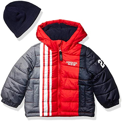 London Fog Baby Boys Color Blocked Puffer Jacket Coat with Hat,Red Stripe New,24MO