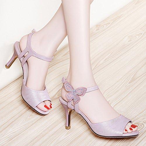 VIVIOO Sandales à talons hauts sandales à talons hauts chaussuresfine avec poisson bouche sandales été féminin avec Les dames chaussures sauvages talons hauts sandales
