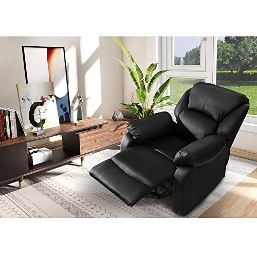 ModernLuxe Relaxsessel & -liegen Kunstleder Sessel mit Liegefunktion Fernsehsessel Ruhesessel Loungesessel Schlafsessel in Schwarz, Belastbarkeit: 150 Kg
