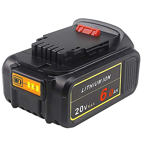 TenMore DCB206 20V 6.0Ah Replacement Battery Compatible with Dewalt Max DCB204 DCB205 DCD DCG DCF DCS DCL Cordless Tools