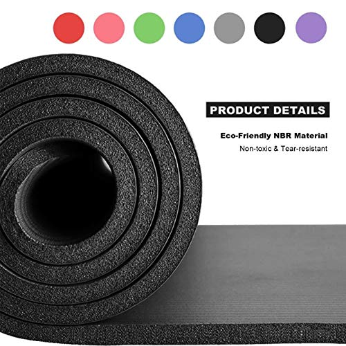 RMK Yoga Mat NBR Exercise Fitness Foam Extra Thick Non-Slip Large Padded High Density for Pilates gymnastics stretching Fitness & Workout with Free Carry Strap. (Black)
