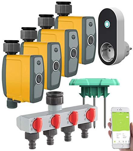 Royal Gardineer Bewässerung: WLAN-Bewässerungscomputer, 4-Wege-Verteiler, Feuchtigkeitssensor, App (Regensensor)