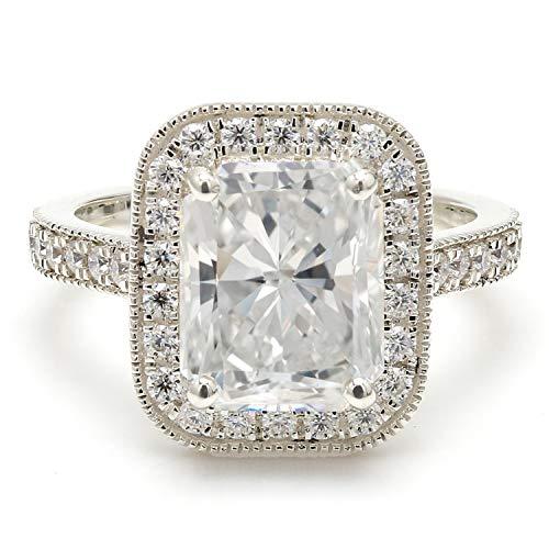 Diamondrensu - Anillo de compromiso con diamantes de moissanita incoloros de corte radiante de 3,91 quilates, anillo de compromiso de halo, milgrain Set de boda, anillo de catedral, nupcial