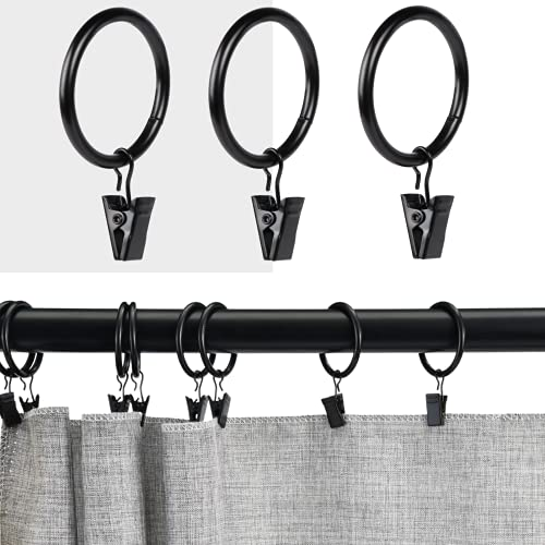 40 Pcs Magalée Curtain Rings with Clips, Fits up to 1.2-Inch Rod, Clip Rings Heavy Duty Curtain Clip with Rings | Black