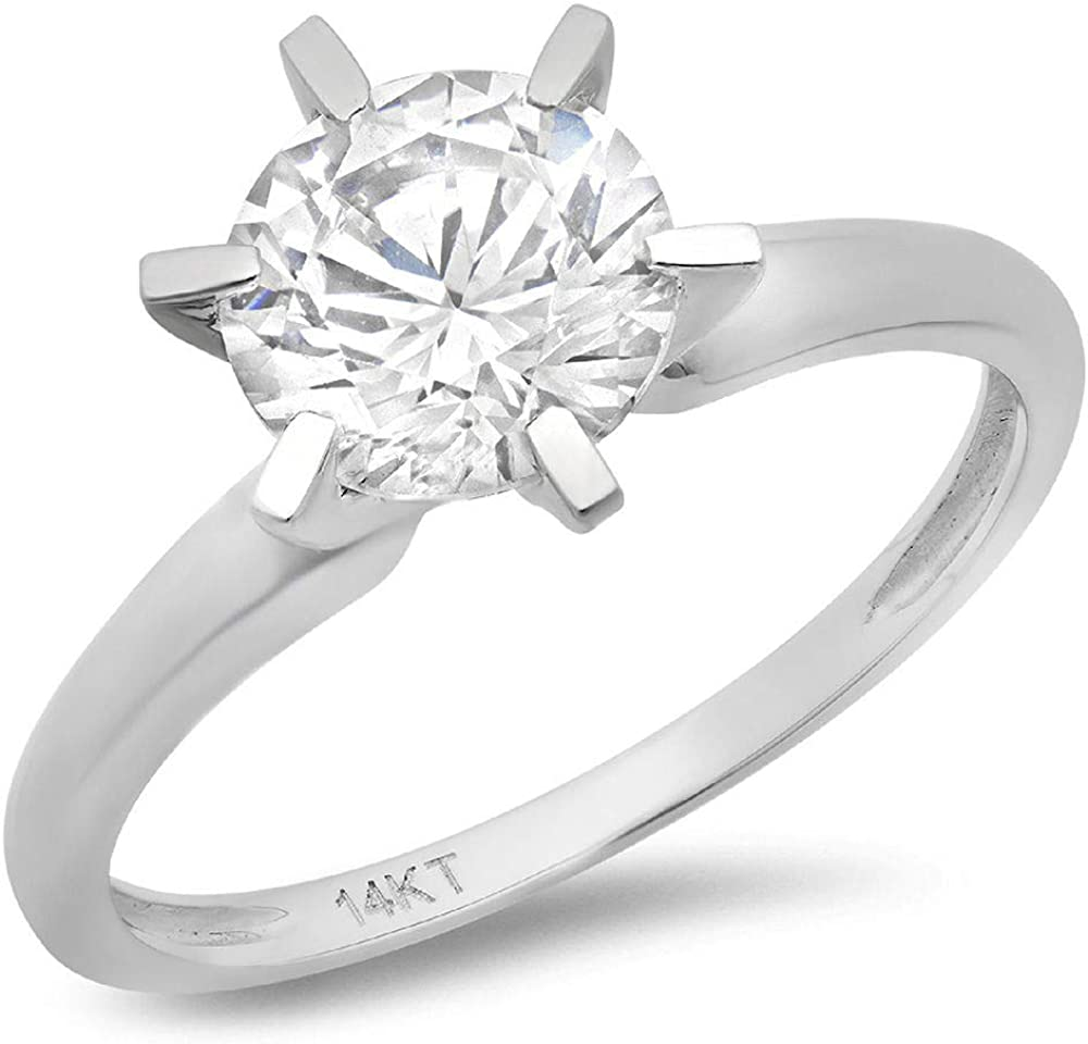 14k White Gold 1.97cttw Classic Round Cut Solitaire Moissanite Engagement Promise Ring 6-prong Statement Anniversary Bridal Wedding by Clara Pucci