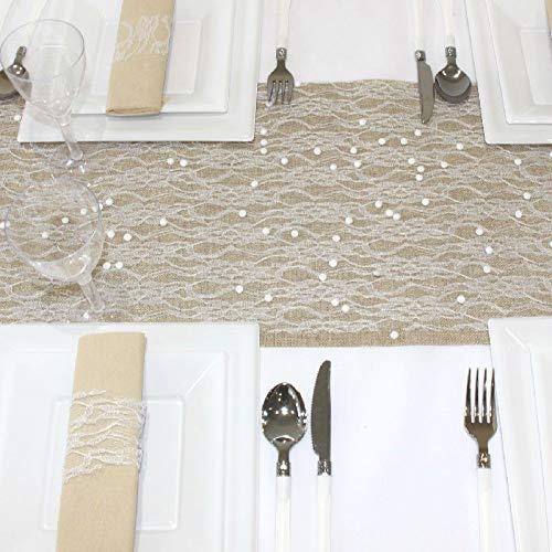 SPSS Fetez-moi Tischläufer, weiße Spitze, 28 cm x 5 m