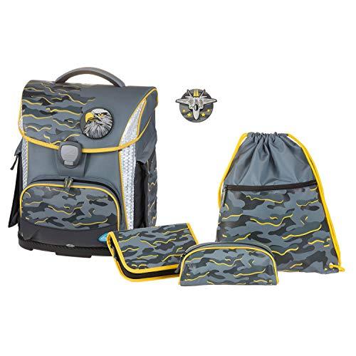 Set di 4 zaini per la scuola Plus con astuccio, astuccio e borsa sportiva, colore grigio