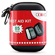 I GO 85 Pieces Hard Shell Mini Compact First Aid Kit, Small Personal Emergency Survival Kit for Travel Hiking Camping Backpacking Hunting Marine Car
