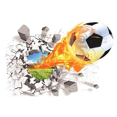 KHHGTYFYTFTY Wall Paper Football 3D Etiqueta de la Pared Creativa Tatuajes de Pared Sala de Estar de los niños extraíble del balón de fútbol Colorido
