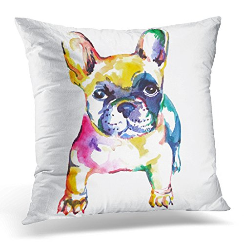 Emvency Throw Pillow Cover White Frenchie French Bulldog Original Watercolor of Dog Rainbow Decorative Pillow Case Home Decor Square 18' x 18' Pillowcase