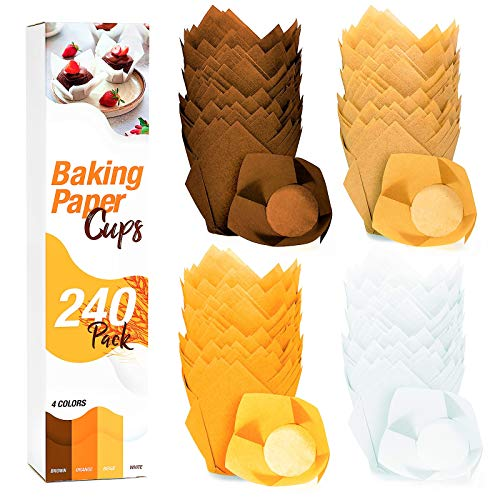 240 Cupcake Liners Tulip Muffin Wrappers – Baking Parchment Paper Large Cupcakes Pan Jumbo Size Brown Cup Cakes Liner Papers Greaseproof Non Stick Wrappers for Baby Mini Cake Party Wedding Birthday