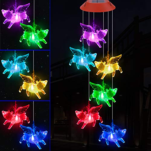 YMXBL Fly Pigs Wind Chime, Solar Color Changing Flying Pigs Wind Chimes Outdoor Decorative, Waterproof Solar Powered Pig Lights, Romantic Pig Fly Wind Chime, Gifts for Women, Home, Patio, Garden Decor