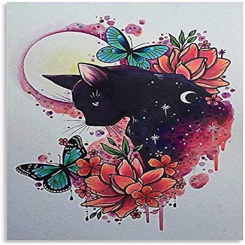 DCPPCPD Mural con Estampado De Arte 60 * 90cm Sin Marco Carteles Decorativos de Sala de Estar de Gato Negro y Mariposa Pintura de Dormitorio