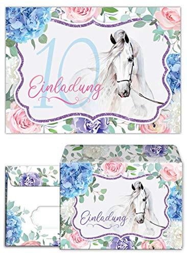 Junaversum 12 Einladungskarten incl. 12 Umschläge zum 10. Kindergeburtstag Mädchen Pferd Einladungen zehnte Geburtstag
