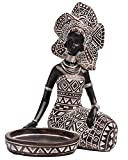 Lescafita African Lady Figurine Candle Holder with African Tribal Totem for Wedding,Church,Holiday Decor-African Decorative Women Statues, Candlestick Holder for Home and Table Decor(754-Black-M)