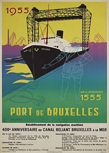 Vintage de Bélgica de viaje para puerto de Bruselas c1955250gsm ART tarjeta brillante...