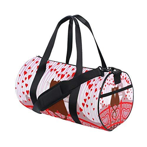ZOMOY Sporttasche,Glückwunsch Valentinstag Karte Rote Herzen,Neue Druckzylinder Sporttasche Fitness Taschen Reisetasche Gepäck Leinwand Handtasche