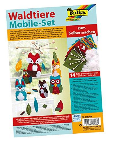 folia 22849 - Mobile Set Waldtiere zum Selbermachen, mit 14 Teilen, Anleitung und Schnittmusterbogen - Komplettset zur Erstellung eines Mobiles