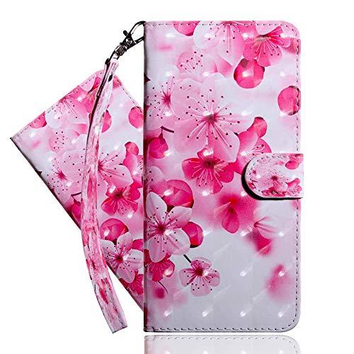IMEIKONST Moto G7 Power Hülle PU Leder 3D Muster Magnetic Clasp Schutzhülle bookstyle Card Holder Flip Brieftasche Ständer Tasche Handyhülle für Motorola Moto G7 Power Pink Peach Blossom BX