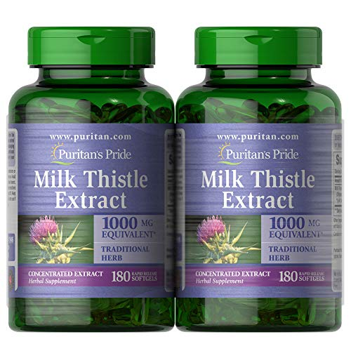 Puritan's Pride Milk Thistle Extract 1000 Mg Silymarin, 360 Total (2 Pack of 180 Ct Softgels), 360 Count
