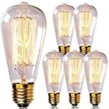 Newhouse Lighting ST64INC-6 ST64 Vintage Light Bulb 6-Pack Edison Bulbs-ST64 Incandescent Style 60 Watts-Dimmable, Medium (E26) Standard Base E27-Squirrel Cage, 6-Pack