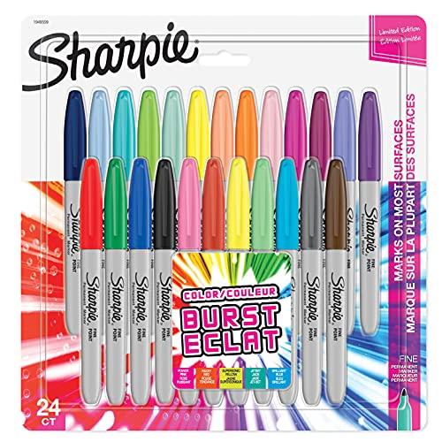 Sharpie Permanent Marker   Marker Stifte mit feiner Spitze   gemischte Color Burst Farben   24Stück Market Set