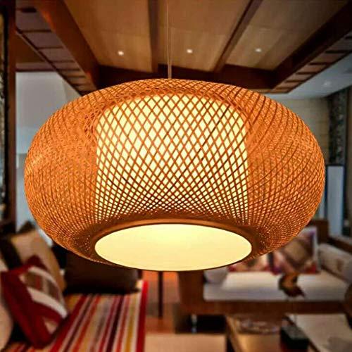 Vintage colgante lámpara E27 Bambú araña iluminación retro bambú lámpara techo tejido ratán lámpara lámparas colgantes altura ajustable colgante lámpara iluminación restaurante teestube cafe,50cm
