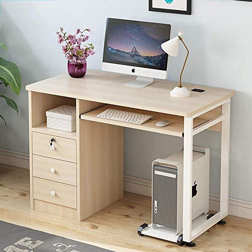 Escritorio de oficina moderno y resistente para escritura, escritorio de madera, estación de trabajo para el hogar y juegos con 3 cajones bandeja de teclado-A 39 x 20 x 30 pulgadas