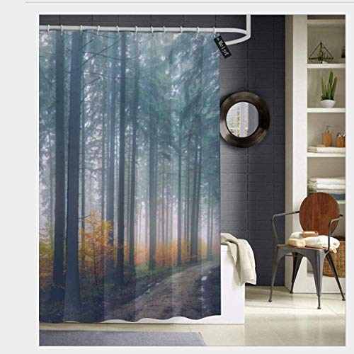 N/A Sunrise Mist Countryside Sunlight Morning Leaf Fall Dawn Waterdicht Douchegordijn - Water, Zeep en - Machinewasbaar - Douchehaken zijn inbegrepen voor Badkamer 66 x 72 inch