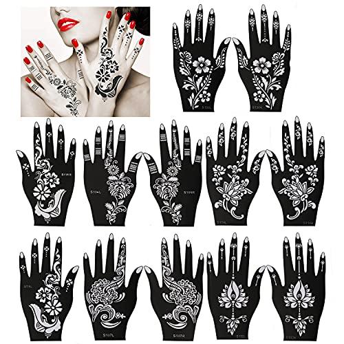 Konsait Tatuaggi temporanei Stencil, 12 fogli mano Tattoo Stencil autoadesivi per Glitter tatuaggi, donna o adult, Tatuaggio stencil di Pittura indiana