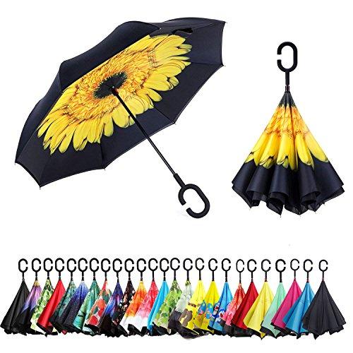 Sumeber Double Layer Reverse Regenschirm mit C Griff Schützen vor Sturm Wind Regen und UV-Strahlung Innovativer Regenschirm (Sonnenblume)