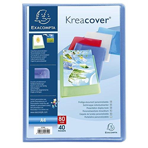 Exacompta - Réf. 5749E - 1 Protège-documents en polypropylène semi rigide Kreacover Chromaline 80 vues - Dimensions 24x32 cm pour fomat A4 - Couleurs assorties, bleu, cristal, rouge, vert, violet