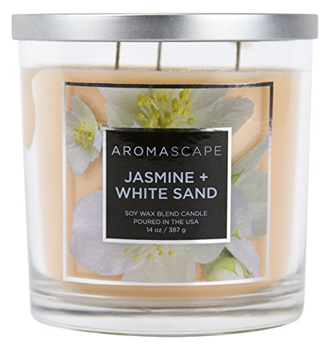 Aromascape PT40500  3-Wick Scented Jar Candle, Jasmine & White Sand,14 Ounce