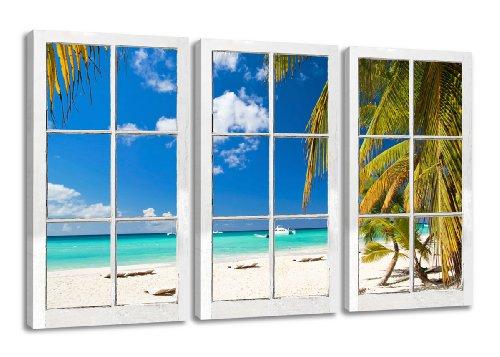Quadro su tela Finestra con vista, Mari del Sud, vacanza, spiaggia 160 x 90 cm 3 tele modello nr XXL 1164. I quadri sono montati su telai di vero legno. Stampa artistica intelaiata e pronta da appendere