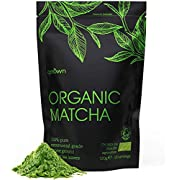Organic Matcha Green Tea Powder - Ceremonial Grade - 120g (120 Servings) - 100% Pure Premium Ground Tea Leaves - Pesticide-Free & Vegan