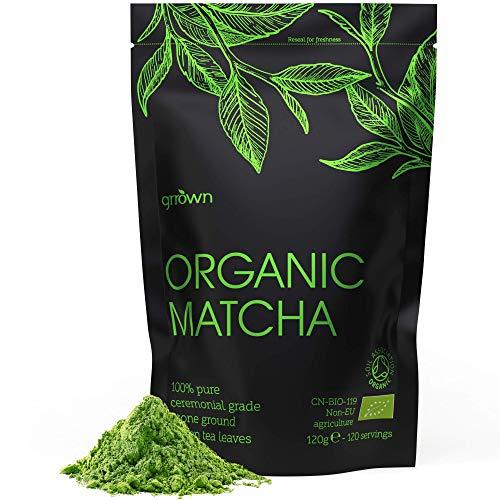Organic Matcha Green Tea Powder - Ceremonial Grade - 120g (120 Servings) - 100% Pure Premium Ground Tea Leaves - Pesticide-Free & Vegan